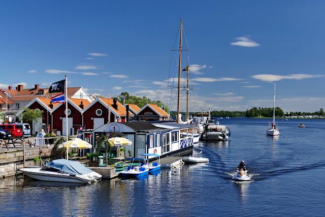 Hafen, Piratenflagge, See, Boote, Schweden, Häuser