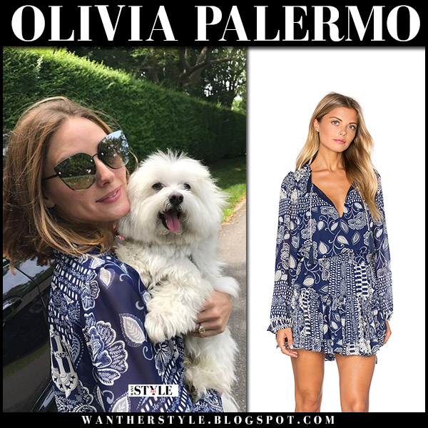 Olivia Palermo in navy printed misa dress with her dog summer vacation style may 2018