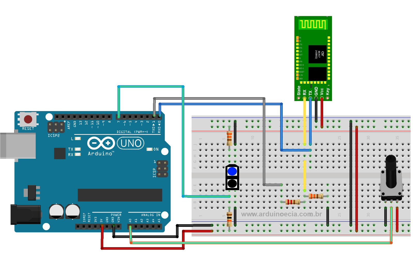 Circuito Arduino Android Bluetooth