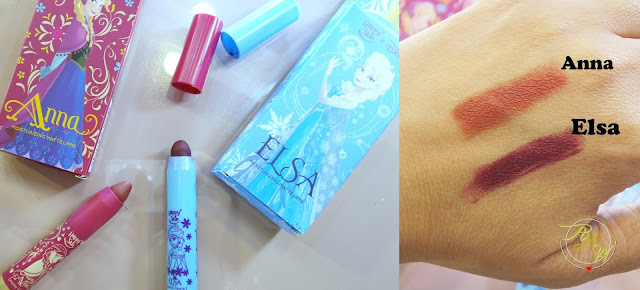 a photo and swatch of Happy Skin X Frozen Moisturizing Matte Lipsticks  Anna and Elsa