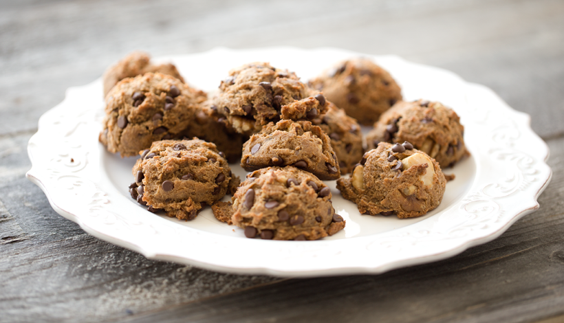 walnut banana Brazil nut chocolate chip cookies