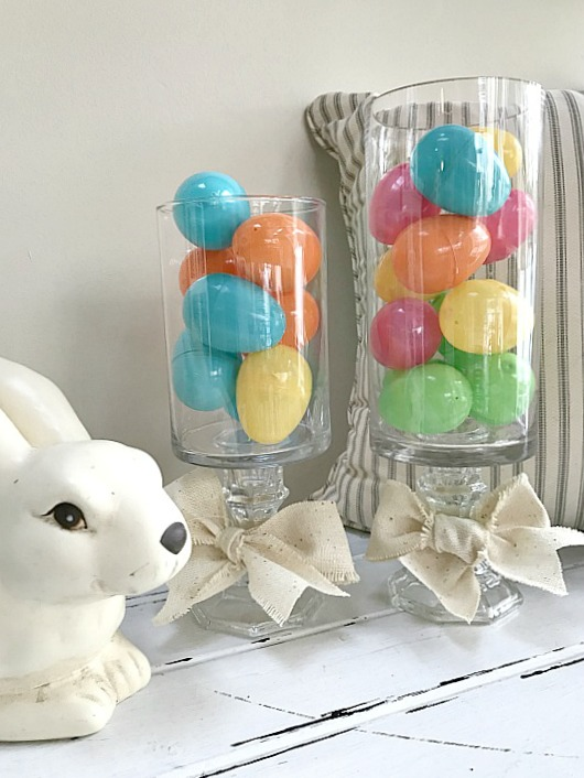 Easter Eggs fill a DIY pedestal vase