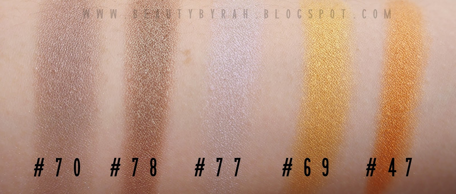Morphe brushes single eyeshadow swatches gold and bronze
