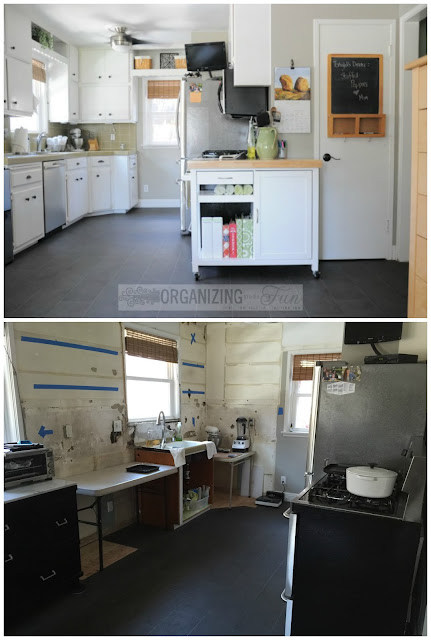 Before and Midway through a new kitchen reno :: OrganizingMadeFun.com