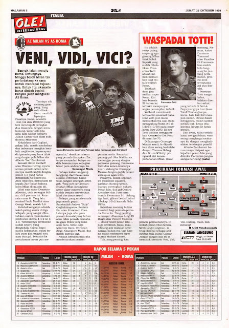 LEGA CALCIO AC MILAN VS AS ROMA VENI, VIDI, VICI