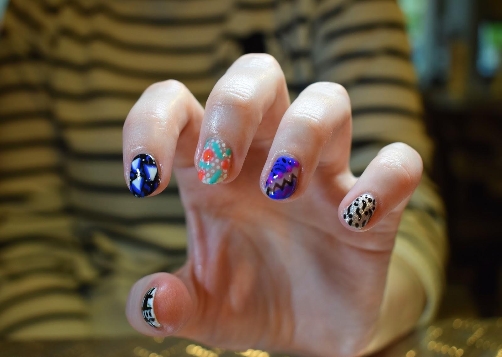 Cutie-Kills Nails, Zara Evry nail artist, Medusa Grassmarket, Edinburgh nail artist, gel polish colour, fashion blogger nails favourite, 80s graphic nail art trend, 80s nail inspiration