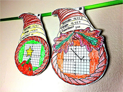 domain and range cornucopia math pennant for a fun way to bring a fall theme into an Algebra classroom!