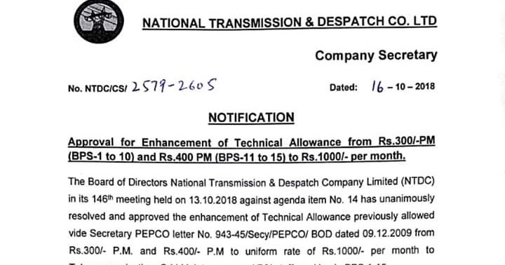 Approval for increment of Technical Allowance: (BPS-1 to 10
