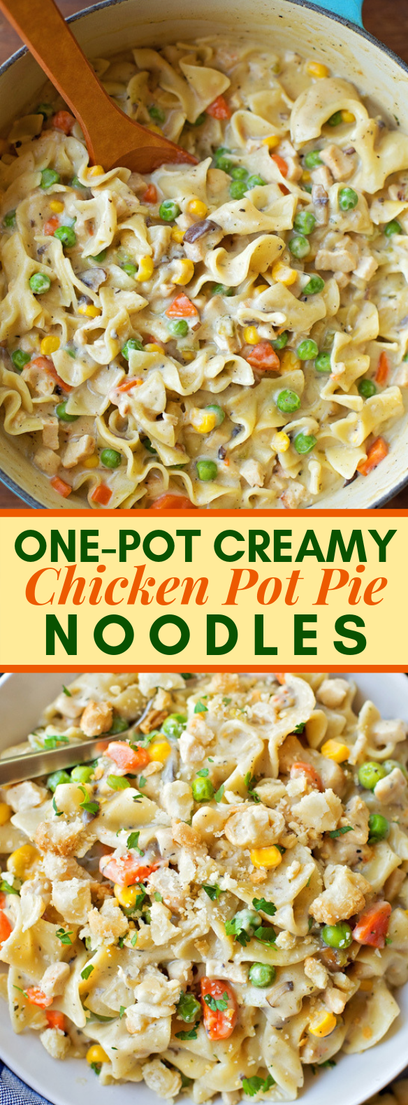 ONE-POT CREAMY CHICKEN POT PIE NOODLES #meals #lunch