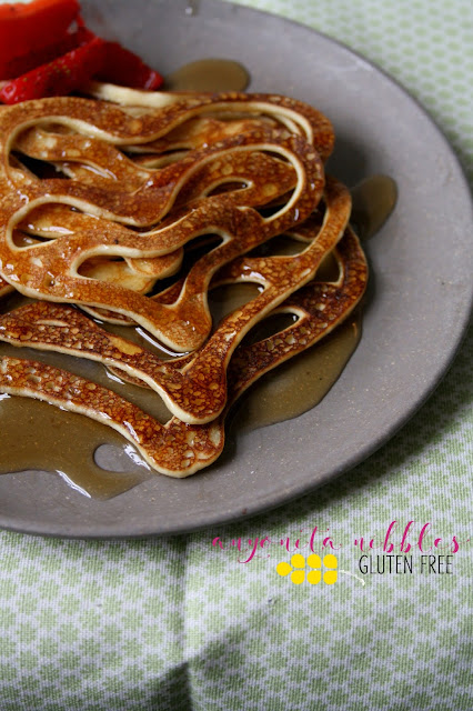 Gluten Free and Dairy Free Lacy Pancakes Served with Syrup and Fruit | Anyonita Nibbles