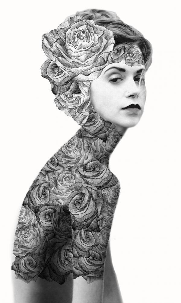 Dibujo  a lápiz de una mujer