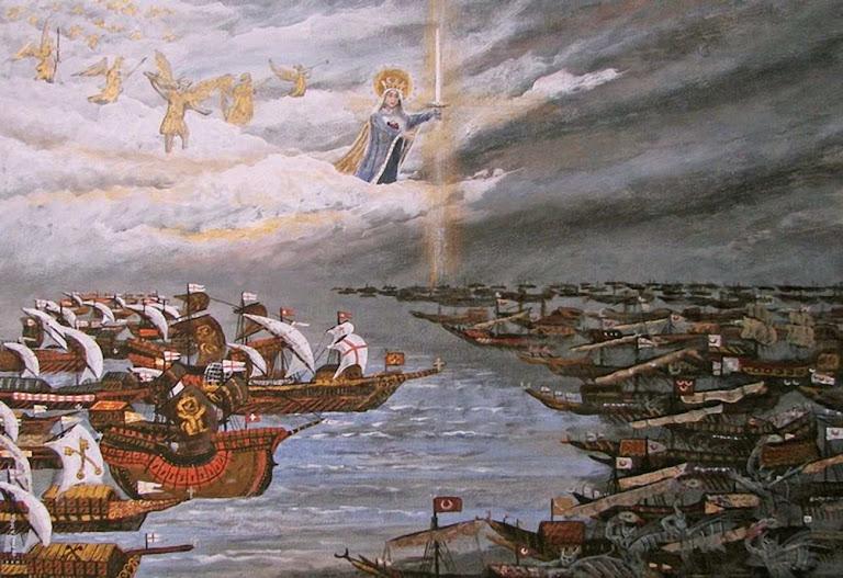 """Nossa Senhora apareceu no Céu aterrorizando os turcos. O vento mudou de sentido. De ali provêm a invocação """"Auxílio dos Cristãos"""", ou """"Auxilium Christianorum""""."""