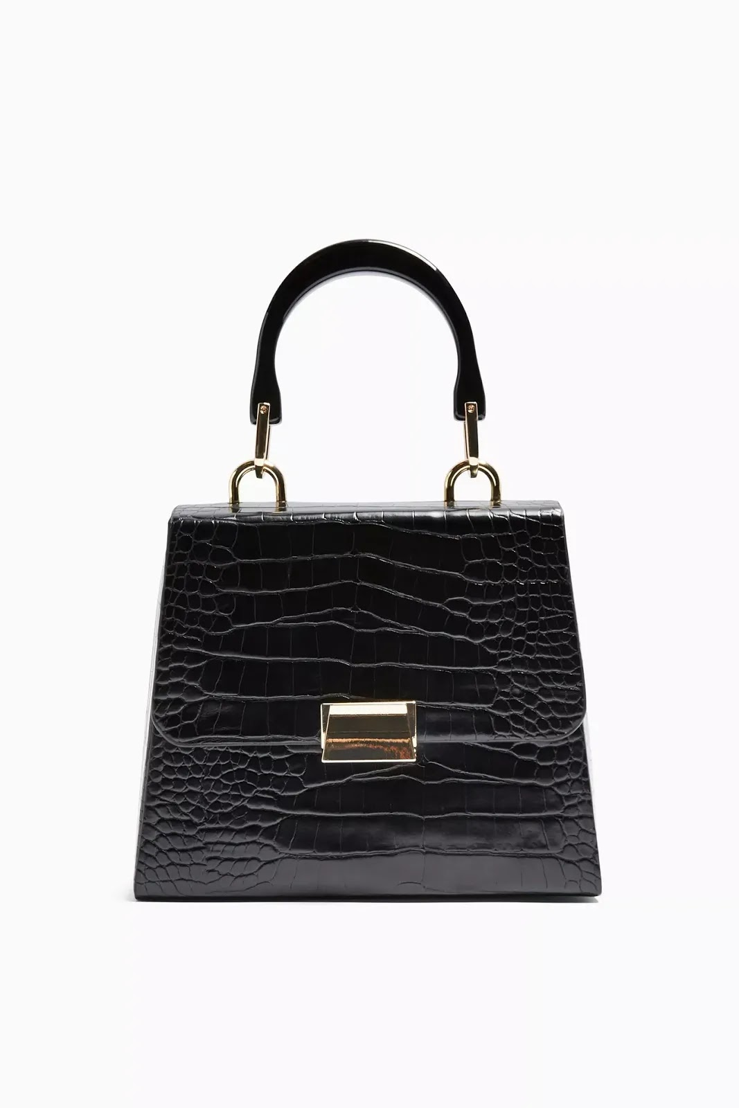 VINTAGE Black Crocodile Grab Bag