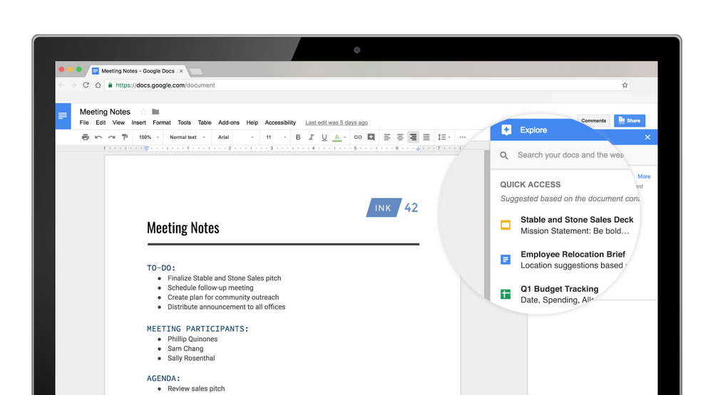 Quick Access in Google Docs