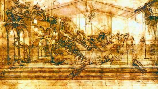 Estudio de perspectiva lineal para La Adoración de los Reyes Magos