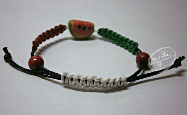 Adzik tworzy - arbuzowa bransoletka na lato ze sznurków