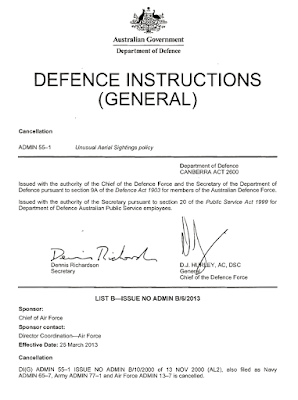 Cancellation of Defence Instructions (General) ADMIN 55-1, Unusual Aerial Sightings Policy