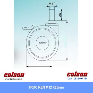 Bánh xe đôi y tế Colson Mỹ phi 75 có khóa đạp | CPT-3854-85BRK4