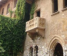 'Juliet's balcony' at the so-called Casa Giulietta in Via Cappello in Verona