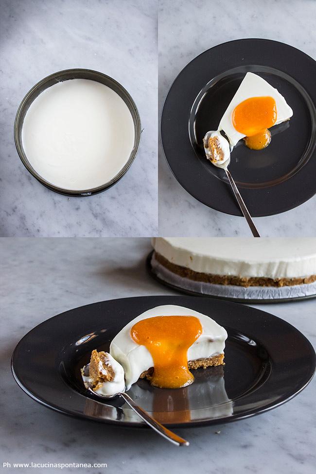 Immagine con torta intera, fetta di torta allo yogurt
