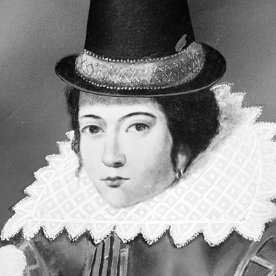 Pocahontas in ruffled collar and hat