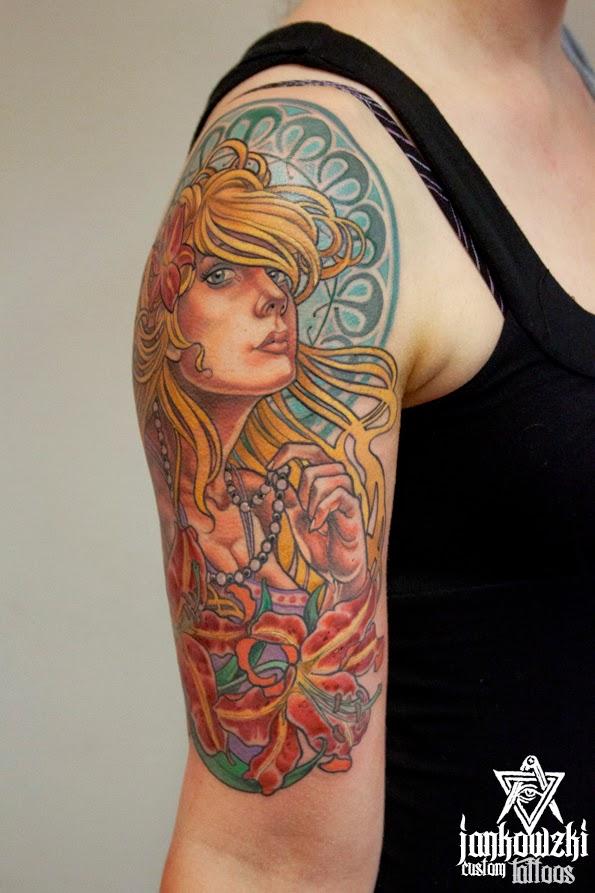 Art Nouveau Tattoo Design By Tegan Ray: Jankowzki Custom Tattoos: Back To Art Nouveau Styla
