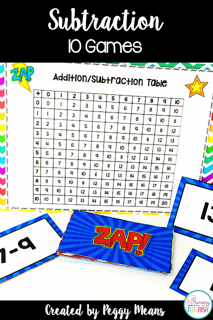 These games provide a fun, engaging way for your students to increase their math fact fluency by mastering subtraction mental math strategies. There are 10 games, one for each mental math strategy, so differentiation is easy. These games also gives your students practice in using the addition/subtraction chart to check each other's answers.