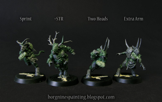 4 unpainted Pestigors of Nurgle for use in Blood Bowl, converted from the Doom Lords Beastmen with greenstuff and bits