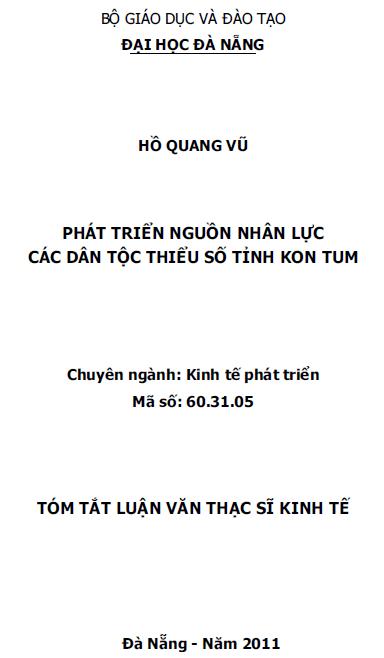 Phát triển nguồn nhân lực dân tộc thiểu số tỉnh Kon Tum
