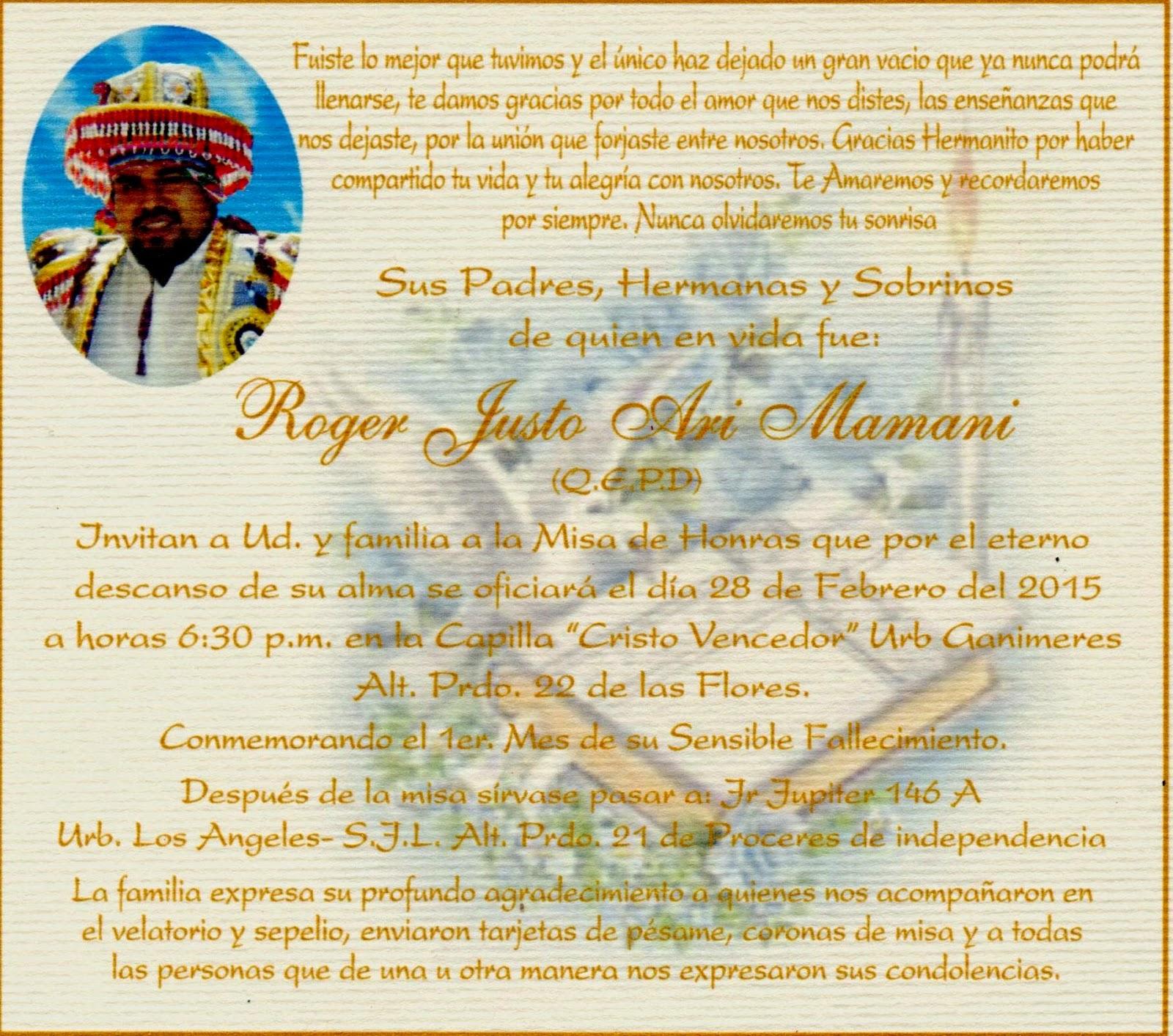 Prensa Uni Invitación A La Misa De Honras Por El