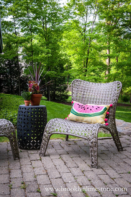 Watermelon pillow on outdoor chair