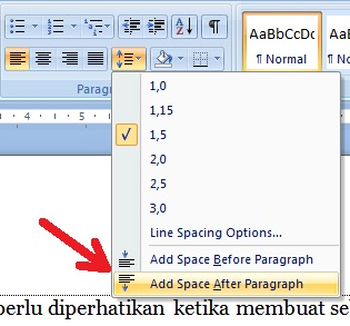 cara mengatur spasi di microsoft word 2007