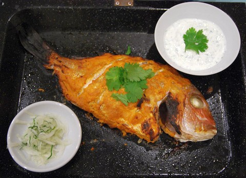 Crispy grilled snapper fish
