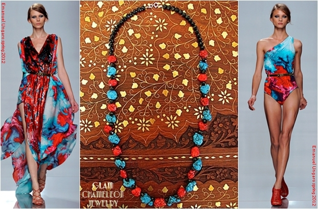 Glam Chameleon Jewelry red coral black beads and turquoise necklace