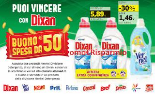 Logo Con Henkel e Dixan vinci buoni spesa da 50 euro
