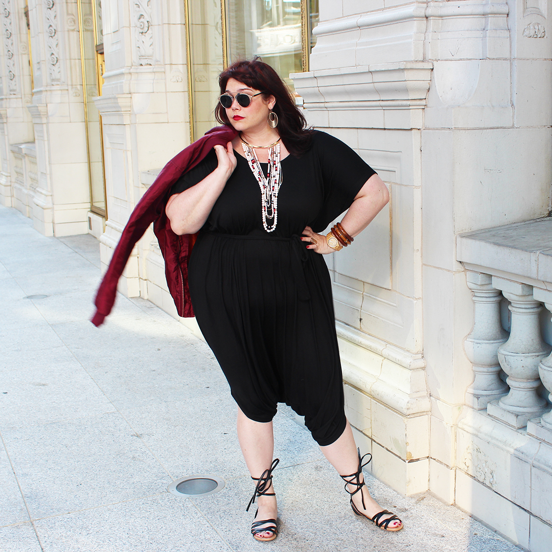 Chicago Plus Size Blogger Amber from Style Plus Curves in a Harem Plus Size Jumpsuit and Plus Size Bomber Jacket from Debshops
