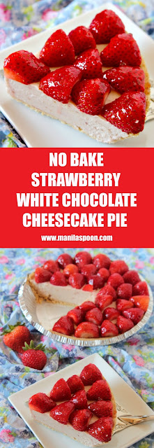 Glazed fresh and juicy strawberries and luscious white chocolate cheesecake make up this ultimate summer pie! NO BAKE, easy and delicious recipe that will make everyone happy!
