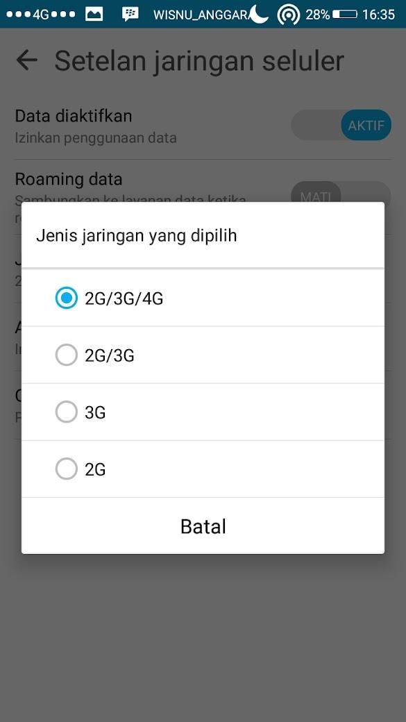 Cara Mengunci sinyal 4G Di Asus Zenfone 2