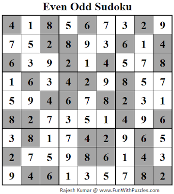 Even Odd Sudoku (Fun With Sudoku #88) Solution