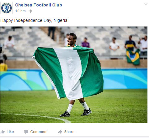 Chelsea FC wishes Nigeria a happy Independence Day