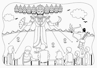 Download Happy Dussehra Drawing Art Sketch Coloring Pics pages For Kids