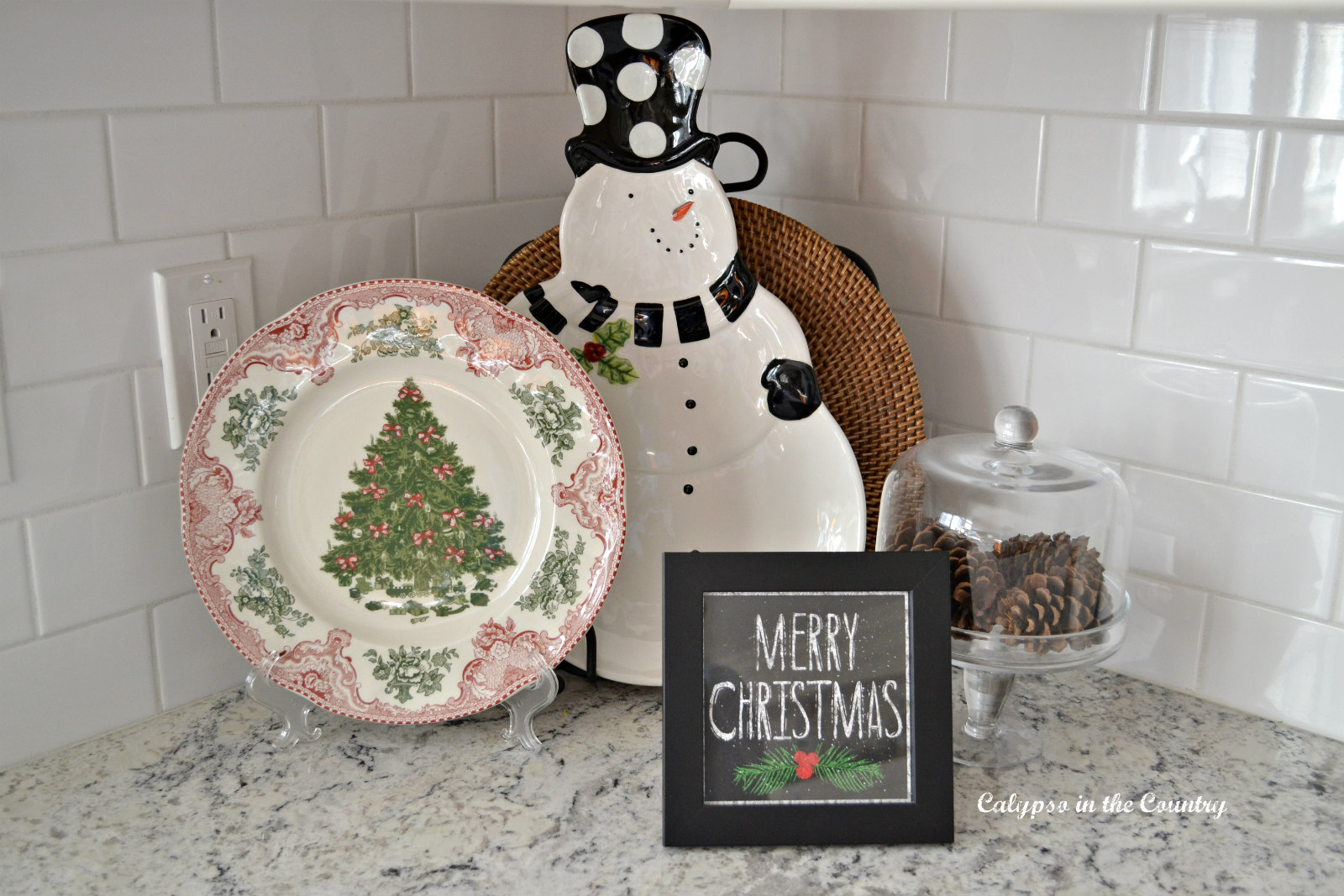 Christmas Vignette on Kitchen Counter