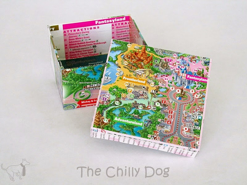 Craft Tutorial: How to make a keepsake box with Disneyland maps or other travel maps, brochures and repurposed paper