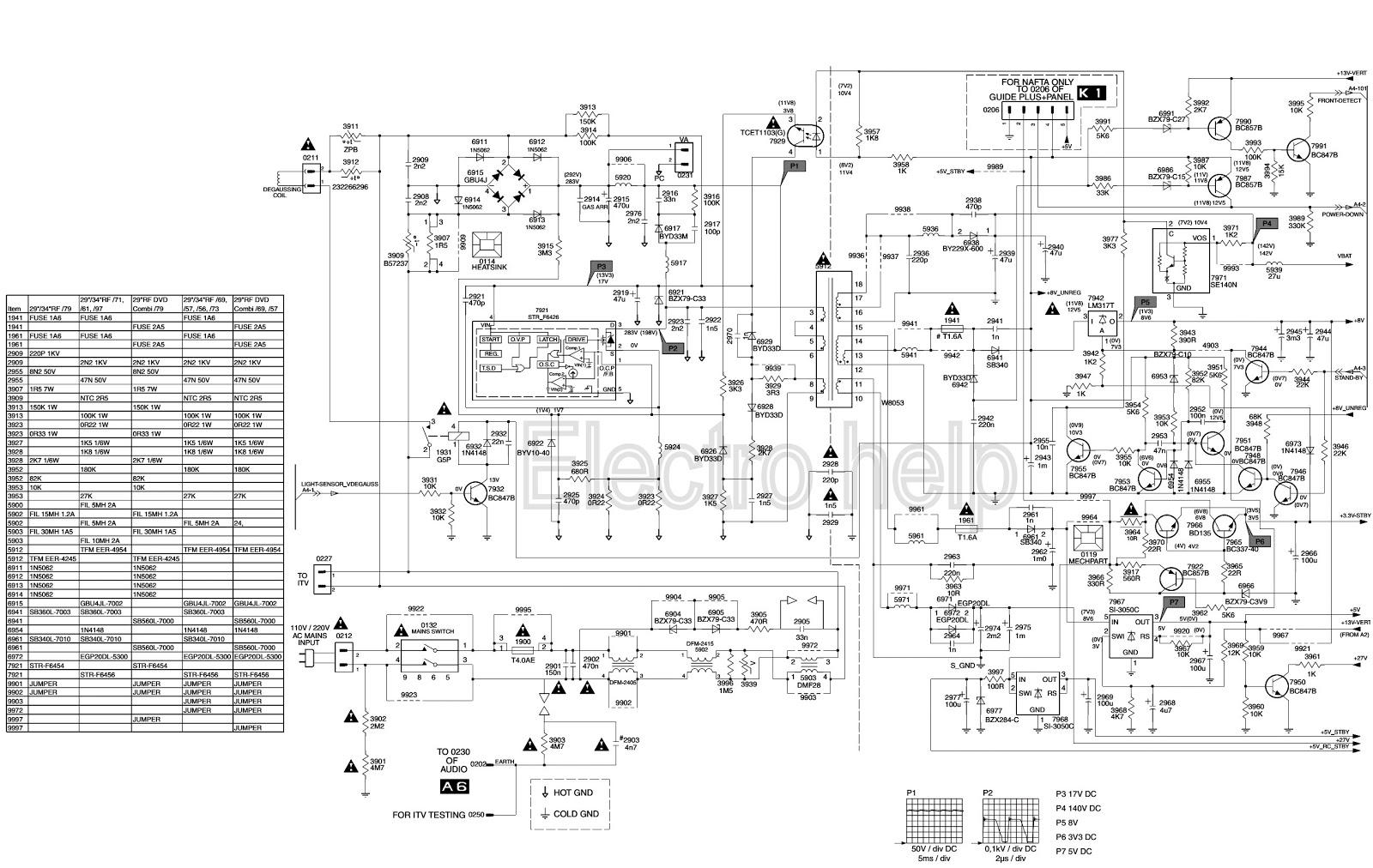 CTV SMPS CIRCUIT DIAGRAM  STRX6750F AS POWER SWITCHING