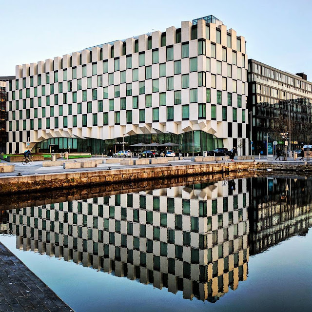 One Day Dublin City Itinerary: Reflections of the Marker Hotel in the Grand Canal