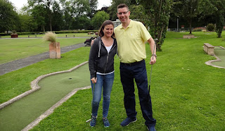 Emily and Richard Gottfried at the Wellholme Park Crazy Golf course in Brighouse, Yorkshire