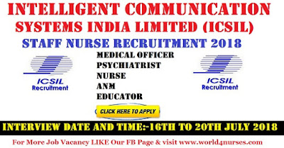 ICSIL Staff Nurse Recruitment 2018