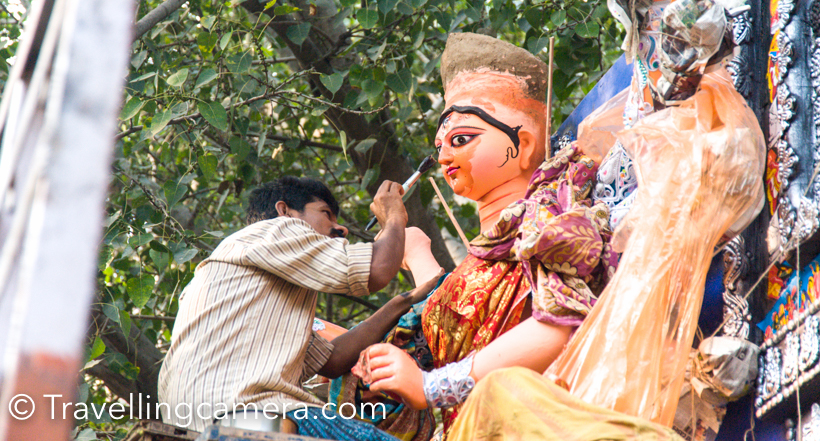 The whole process of making Durga Pooja idols is very interesting and has been a very popular amongst photographers and artists. At the same time, lot of folks keep planning and don't find time to visit these beautiful places where Durga Puja idols are created. At times, Photowalks encourage you to move out with like minded people and explore such places/experiences at their best. This Photo Journey shares photographs, information and interesting facts about Durga Pooja Photowalk organized by Canon. #pujowithcanonEveryone met at Kali Temple in CR Park. Walk started at 3pm. There is a compound just behind the temple, where these idols are created. Since it's the time when Durga idols are moved to respective pandals, all idols were properly decorated after painting.Few weeks back I was in Kolkata, where I visited World's largest producer of Durga Puja Idols in Kumartuli. At that time, idols were being created and painting was yet to be started.Definitely it was a great opportunity for photography enthusiasts to walk around these places with like minded people and skilled mentors. There are lot of Photo-walks happening in the town these days and some of these are unique. This one was organized by Canon India and more details about their walks can be found atNow these idols were being moved to the pandals in different parts of the city.Closer you look at these idols, more detailed work you notice. It was awesome to see the detailed art-work. We can imagine the kind of time, skill and hardwork needed to create these idols.While walking around these idols I realized that it could be an interesting idea to come this place multiple times and capture different stages of idol creation. I will try to find details about the timelines and share on the blog soon. Probably a good reference for next year :).Some of the idols were placed on the tempos and then artists were doing the final touches. The whole process of Durga Idol creation needs a good planning and brilliant execution.Mentor was closing observing different activities happening at the place and used to guide folks to shoot different types of photograph. I heard him asking folks to try zoom-bursts, top shots, silhouettes, Close-ups etc. Folks were welcome to ask technical questions from the Mentor at Photowalk.Many of the ready idols were being loaded into the trucks. Few of them were going to Ghaziabad and Noida.And it was good to catch up with Photographer friends Shoba and Bhaven. Shoba was there to shoot frames for her upcoming exhibition in December.Overall it was interesting experience to be in these walks and shoot with like minded folks.