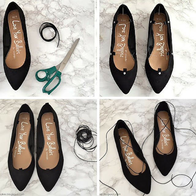 re fashion come trasformare vecchie ballerine in lace up tutorial come trasformare ballerine in lace up scarpe lace up ballerine lace up mariafelicia magno fashion blogger color block by felym fashion blog italiani fashion blogger italiane blogger italiane di moda how to make lace up shoes