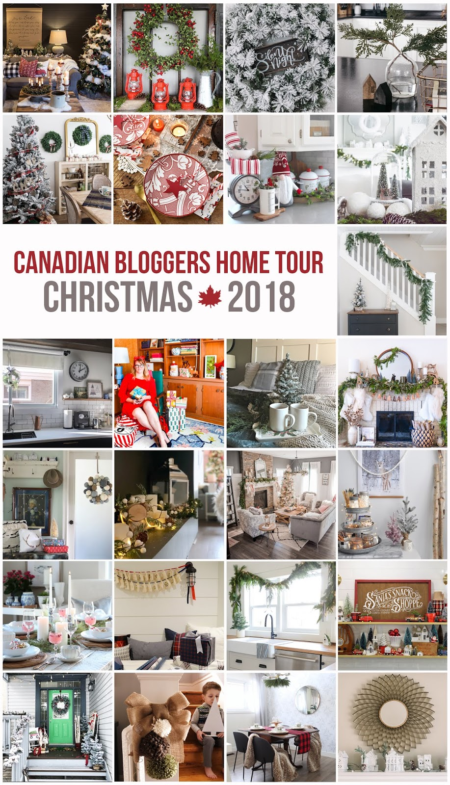 Canadian Bloggers Home Tour Christmas 2018 collage of contributors